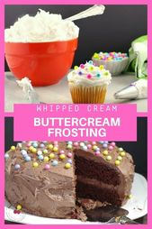 Whipped Cream Buttercream Frosting #icingfrosting This shortening based frosting…
