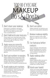 Make-up Do's and Don'ts Hilfreiche Infografik mit Tipps zur Augenpflege in Bezug auf Make-up …   – Makeup