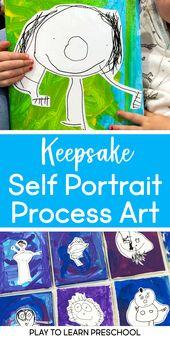 Keepsake Self-Portraits Spielen, um Vorschule zu lernen – art projects for preschool!