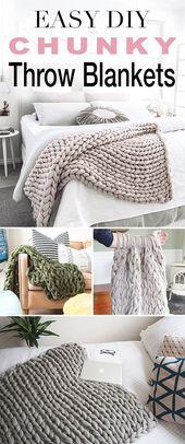 Simple DIY Chunky Throw Blankets