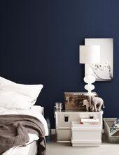 Wand streichen: Ideen für Wandgestaltung mit Farbe  warmes Blau – dunkel und sa… – schlafzimmer wandfarbe