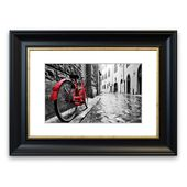 East Urban Home Framed Photographic Print Red Bicycle in Cobbled Streets Wayfair.de