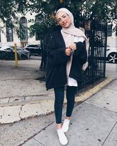 black jacket with white shoes hijab outfit #hijab_fashion #hijab #hijab_style #girl – #black