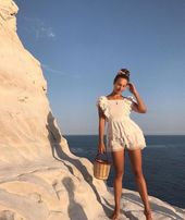Summer fashion white lace playsuit and straw bag