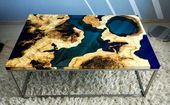 SOLD Live edge river coffee table with blue epoxy SOLD
