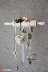 Dekorierte Teigrolle, Weihnachtsschmuck, Weihnachtsdeko, dekoriertes Nudelholz