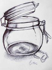 Glas Mehr Schwarz sehen, Skizze Zeichnung mit schwarzem Kuli von sgkunst