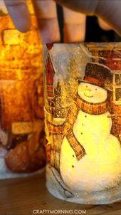DIY Christmas Napkin Decoupage Candles