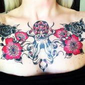 Flowers u. Vintage Octopus / Black Cat Tattoos, Pittsburgh, PA, #Flowers # CatsTa …,  #Blac…