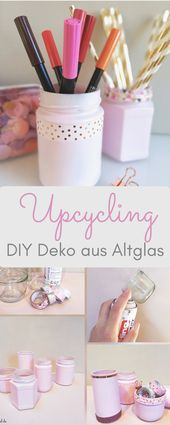 DIY decoration made of old glass – upcycling with acrylic paint spray