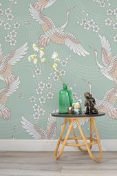 Zen Style With Uplifting Pastel Colours This Oriental Wallpaper Design Features A Simple Duck Egg Colour Oriental Wallpaper Asian Home Decor Oriental Interior