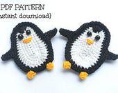 Patrón de ganchillo, patrón de aplicación de pingüino, patrón de aplicación de gancho, crochet …   – Applikation