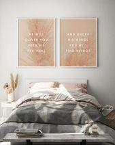 Bible Verse Art Psalm 91, Pampass Grass, Set of 2 Prints, Above Couch Art, Christian Decor, Blush Room
