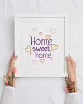 Home Sweet Home Print, Living room wall art, Simple Typography Print, Above couch decor, Printable Home Decor, Family Quote, Home Gift