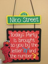 """Elmo Birthday party door sign, Today's Party is brought to you by the letter """"N"""" and the number """"3"""""""