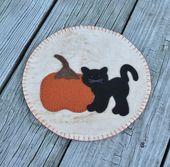 Primitive Cat & Pumpkin Penny Rug Kerzenmatte