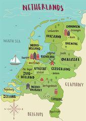 Karte der Niederlande. Lesen Sie Ihre perfekte niederländische Reiseroute, die von einem Dut
