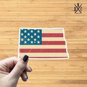 North Dakota American Flag State Outline Vinyl Sticker, Travel, Laptop Decals, Stickers, Macbook Dec