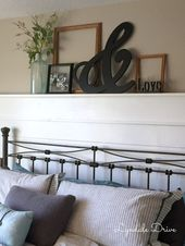 Shiplap headboard with shelf