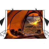 Bakgrund 7x5ft tält Camping Mountain Sunrise Outdoor Photo Video Studio