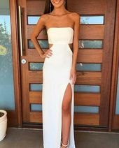 White Chiffon Strapless Cutout Prom Dress with High Slit