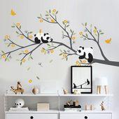 Pandas sur le décalque de mur de branche – décor de mur d'arbre de pépinière