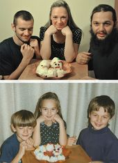Kinder stellen Kindheitsfotos nach