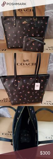 NWT 💗COACH SET💗 Authentic Coach Tote with Vintage Prairie print and matchi…