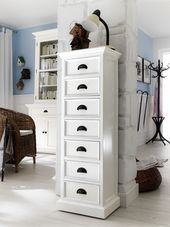 Halifax White 7 Drawer Storage Tower