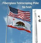 2 X 16 Ft Telescoping Flag Pole 3 Extra Ring Hooks W Clips Fiberglass Antenna Gardendecor Flag Pole Flag Us Navy Flag