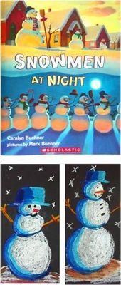 Bonhommes de neige la nuit – Cours d'art élémentaire pour enfants – Aimez ce cours!  – Kindergarten Art