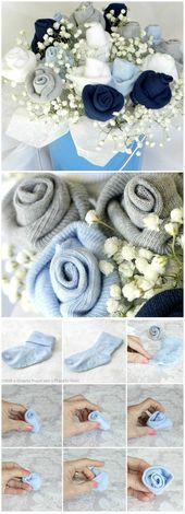 Baby Socken Rose Bud Blumenstrauß  – Babyparty | Baby Shower