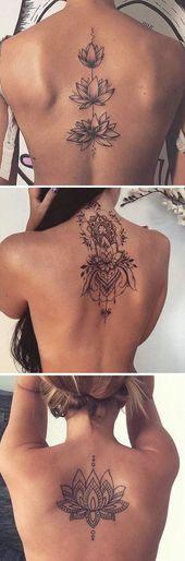 Realistische Lotus Mandala Tattoo Back Ideas – Unalome Spine Tat – kleine Lotus Tattoo Ideen für Frauen – www.MyBodiArt.com