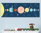 Personalisierte Sonnensystem Print, Constellation Nursery, Sonnensystem Art – Wall Decal oder gewickelt Leinwand – Constellation Decal   – Kids