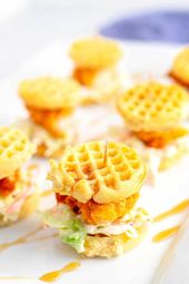 These Chicken and Waffle Sliders are the easiest game day, Super Bowl, or party …