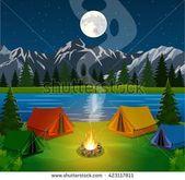 Affisch som visar Camping Camping Campfire Vector Flat Stock Vector (Royaltyfritt) 423117811