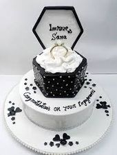 Image result for black and white engagement cake ideas   – engagement cakes