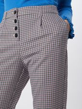 TOM TAILOR – trousers 'checked loose fit pants Trousers 1/1' women, beige / mixed colors, size 46