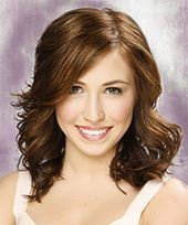Medium Wavy Light Brunette Hairstyle with Side Swept Bangs