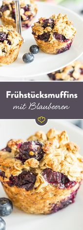 Without sugar and without flour! Breakfast muffins with blueberries