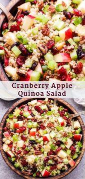 Dieser Cranberry Apple Quinoa Salat ist einfach zuzubereiten und perfekt als Beilage …   – Must make recipes