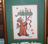 Photo of Vintage gerahmte Nadelspitze Hummel Engel Weihnachten Bild handgemachte mattierte Santa Lucia Kranz Kerzen