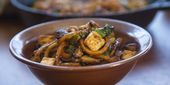 Spicy Korean-Style Fried Noodles with Bok Choy and Mushrooms