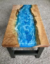 Epoxy Resin Ocean and Maple Coffee Table