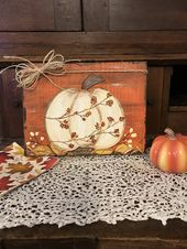 Rustic fall harvest white pumpkin handpainted onto a wood art block, burnt orang…