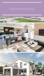 Fertighaus außen modern mit Satteldach, Satteldach- & Carportverlängerung, Putzfass …   – layout-garden