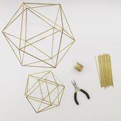 DIY Package & Sample: Geometric Icosahedron Himmeli – Wedding ceremony Centerpiece – Espresso Desk Decor – Minimalist Orb Brass Sphere – Airplant Cellular