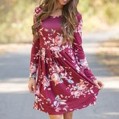 Long Sleeve Floral Print Mini Dress – Products