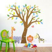 Jungle Giraffe, Elephant, Tiger, Zebra and Tree Wall Stickers, Jungle Wall Decals, Animal Wall Art –