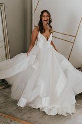 Simple v neck tulle long prom dress, white tulle evening dress